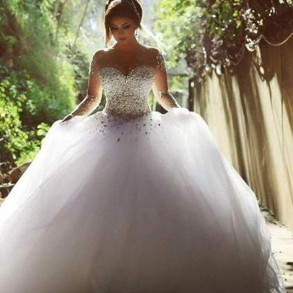 wedding dresses Gorgeous 2015 Pearls Beading Long Sleeves Ball Wedding Dresses for Bride Long White Dress wedding gowns