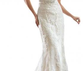 wedding dresses Lace V-Back Sweetheart Neckline Cap-Sleeves Wedding Dress wedding gowns