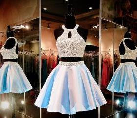 2015 prom gowns and party drresses of Women's High Halter Beaded With Pearls Keyhole Back Two Piece Homecoming Dress
