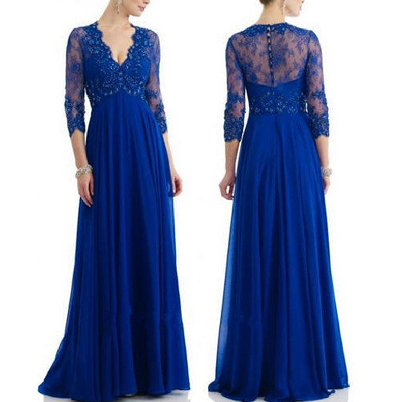 Royal blue lace chiffon long sleeves v neck mother of the for Blue wedding dress with sleeves