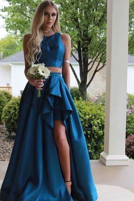 Two Pieces Prom Dresses,Side Slit Prom Dresses,Satin Prom Dresses,Simple Prom Dresses,High Low Prom Dresses,Decent Prom Dresses