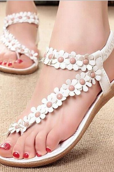 Summer new, folder toe flowers flat shoes, Korean version of flat heels