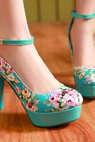Floral Print High Heel Platform Pumps with Ankle Strap