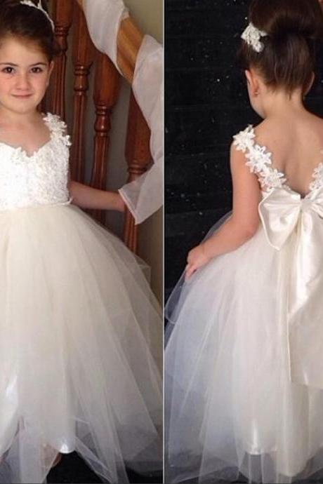 Cute tulle v neck open back ankle length 2016 sweet cheap flower girl dress with bowknot