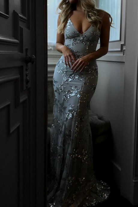 Custom Made Light Blue Sequin Floor Length Two-Piece Bridesmaid Dress, Prom Dress