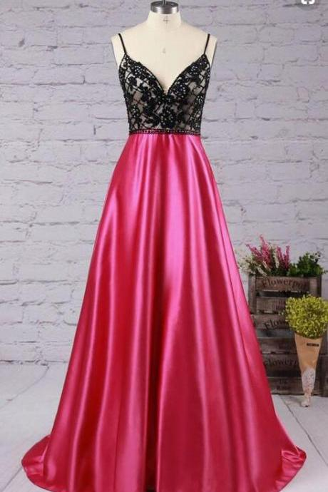 Custom Made Pink V-Neckline Satin Bridesmaid Dress, Prom Dress with Appliques
