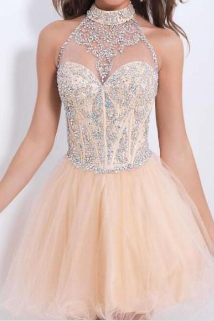 Homecoming dresses High Neck beaded crystal short mini prom dresses party gown