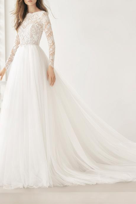 Sheer Lace A-line Wedding Dress with Long Sleeves and V-Back