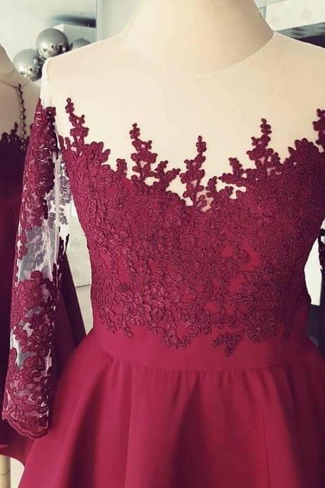 Burgundy High Low ,Applique Sleeves ,Lace Homecoming Dress,Short Prom Dress,Formal Gowns,Custom Made ,New Fashion
