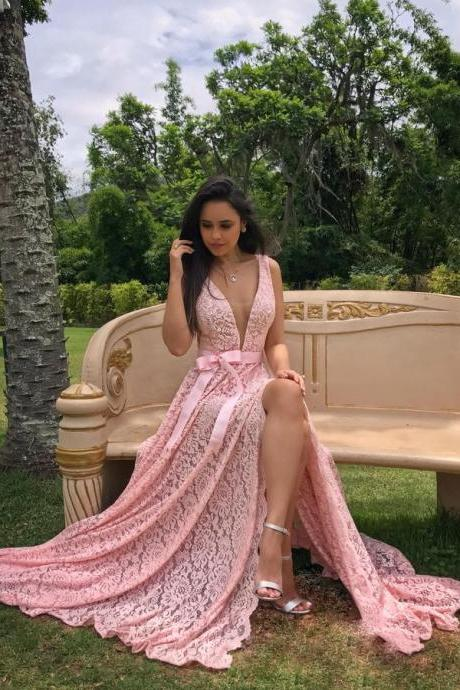 Charming V Neck Pink Lace Prom Dresses Formal Occasion Dress