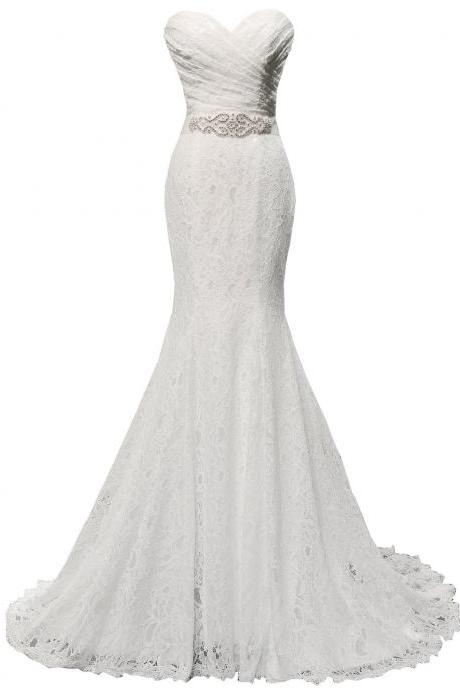 White Ruched Sweetheart Neckline Lace Wedding Dress with Beaded Waistline