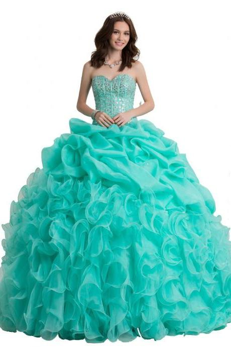 2015 new prom dresses Women's Beaded Ball Gown Sweetheart Quinceanera Dress Formal Prom Gown Evening Gown Dress wedding gowns