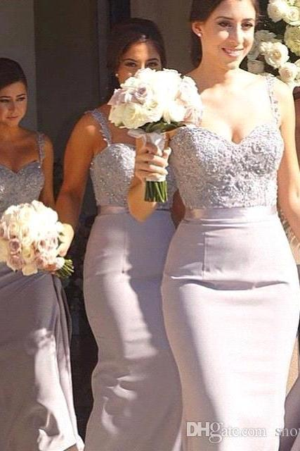 Elegant Lace Mermaid Bridesmaid Dresses Spaghetti Strap Long Crysal Applique Backless Evening Gowns Party Prom Dress Plus Size