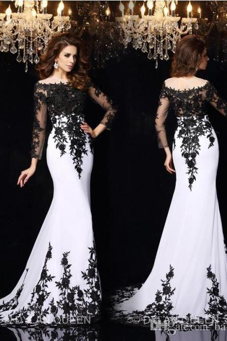 2016 Elegant Long Sleeves Lace Evening Dresses Vestidos De Noiva Arabic Crew Sheer Neck Black Applique Plus Size Formal Prom Party Gowns