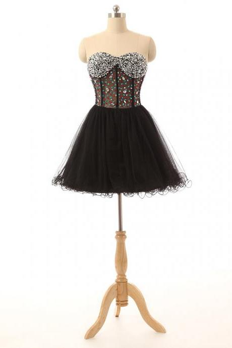 Black Sort Tulle Homecoming Dress Featuring Crystal Embellished Sweetheart Bodice