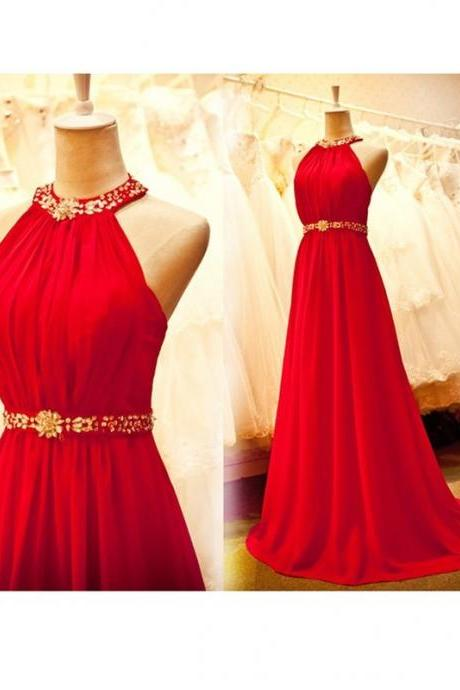 Beautiful Halter Red Long Chiffon Prom Dress With Beadings, Prom Dresses 2016, Red Prom Gowns