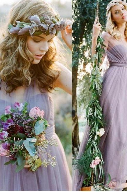 Bridal Dresses , Pretty Elegant Long Chiffon Bridesmaid Dresses,High Low Bridesmaid Gowns,Simple Bridesmaids Dresses