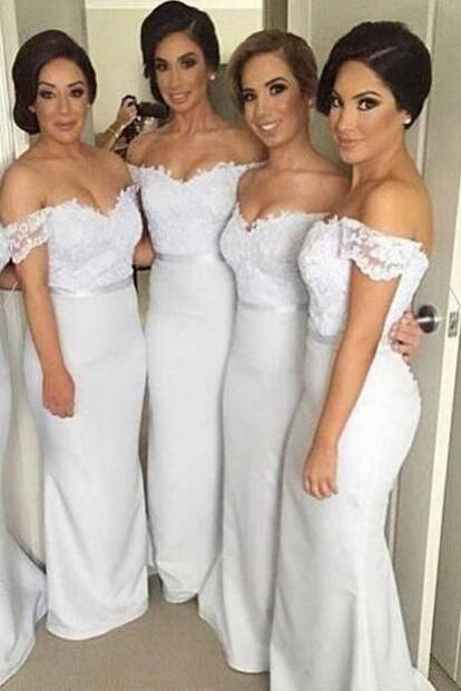 Pretty Off Shoulder Long White Bridesmaid Dresses,Lace Bridesmaids Dresses,Mermaid Bridesmaid Gowns