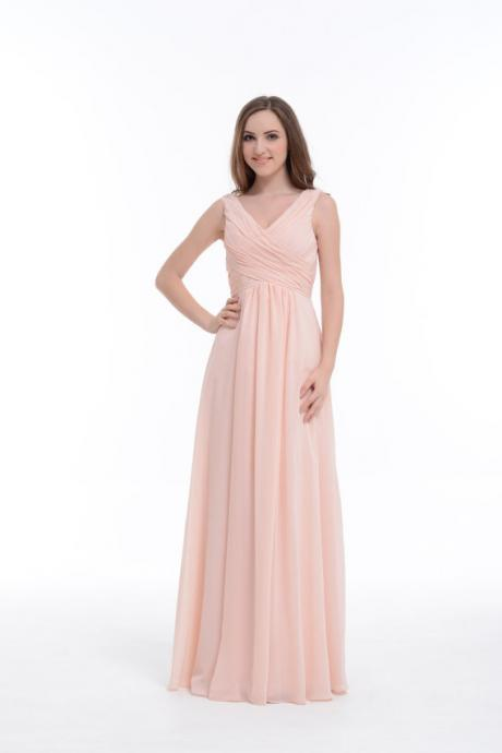 V-neck Pear Pink Bridesmaid Dress, Empire Floor-Length Chiffon Bridesmaid Dress With Ruffle