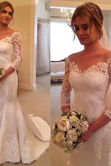 Mermaid Bridal Dresses, Ivory Wedding Dresses, V Neck Wedding Dresses,Court Train Wedding Dresses,Long Sleeves Wedding Dresses, Backless Wedding Dresses,Applique Lace Bridal Dresses