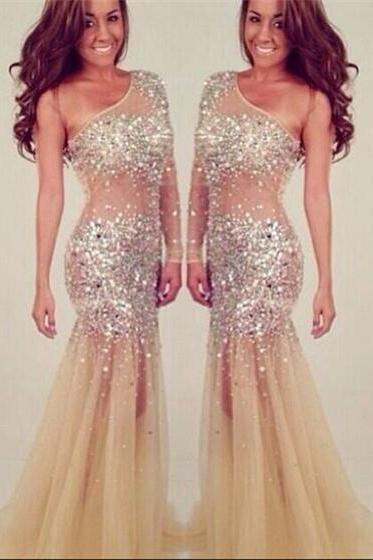 One Shoulder Beading Party Dress Evening Dress Luxury Women Prom Dress