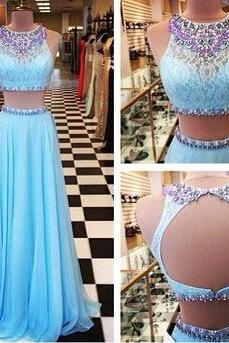 2016 Beading Prom Dresses A-Line Floor-Length Prom Dresses Two-Pieces Prom Dresses Prom Dresses Charming Backless Evening Dresses