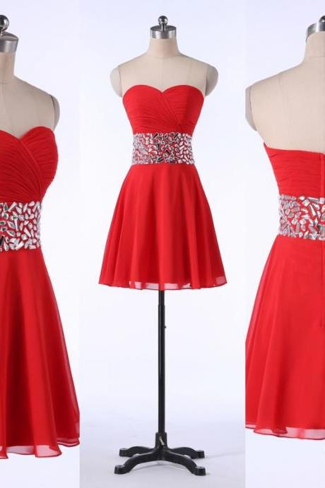 Fashion Red Prom Dresses,Sweetheart Homecoming Dresses,Knee Length Party Dresses,Chiffon Cocktail Dresses,Crystals Bridesmaid Dresses