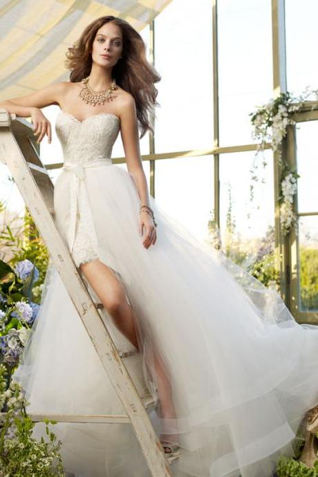 White Strapless Sweetheart Lace Wedding Dress With Attachable Bridal Veil
