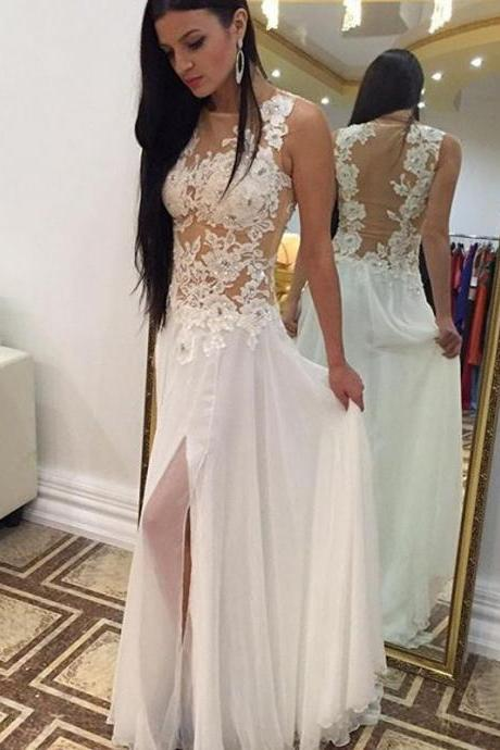 Elegant Long Ivory Chiffon Prom Dresses,Handmade Pretty Prom Dress For Teens