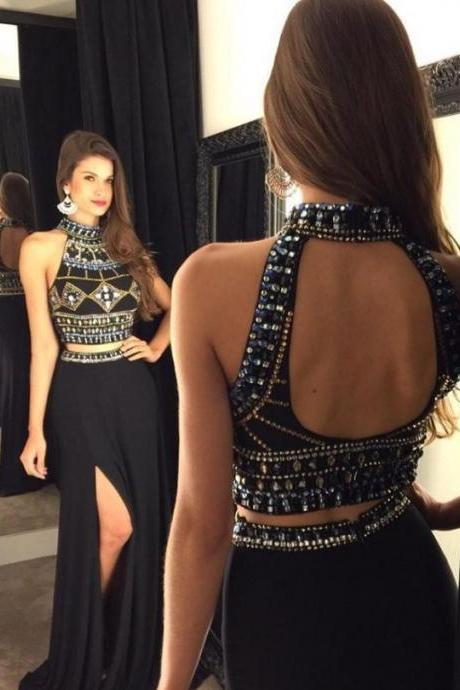2016 New Arrival Long Front Split Halter Prom Dresses,2 Pieces Beading Prom Gowns,Pretty Sparkly Black Prom Dress,Evening Dresses