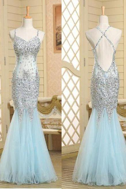 Simple V-neck Mint Homeocming Dresses,Cute Graduation Dresses,Open Back Cocktail Dresses2016 Real Beautiful Backless Long Prom Dresses,Sequin Shiny Mermaid Charming Prom Dress,Evening Gowns