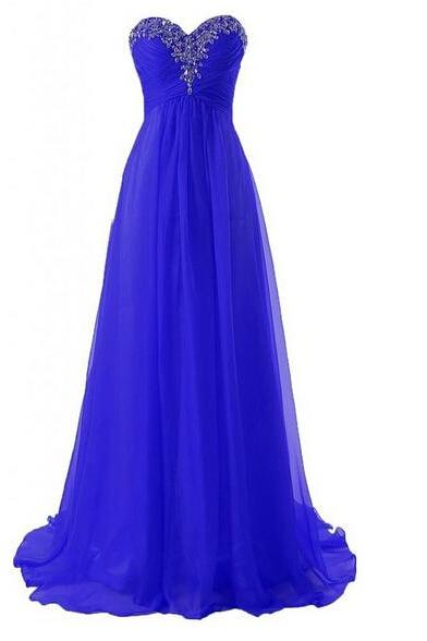 The Sweetheart Chiffon charming Beading Prom Dresses, A-line Floor-Length Evening Dresses, Prom Dresses, Real Made Prom Dresses On Sale,