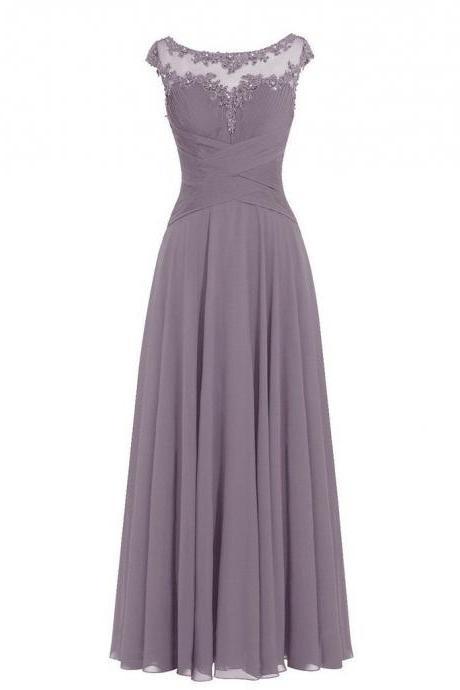 Long Chiffon Evening Dress Featuring Floral Lace Appliqué Bodice with Scoop Neckline, and Dainty Cap Sleeves