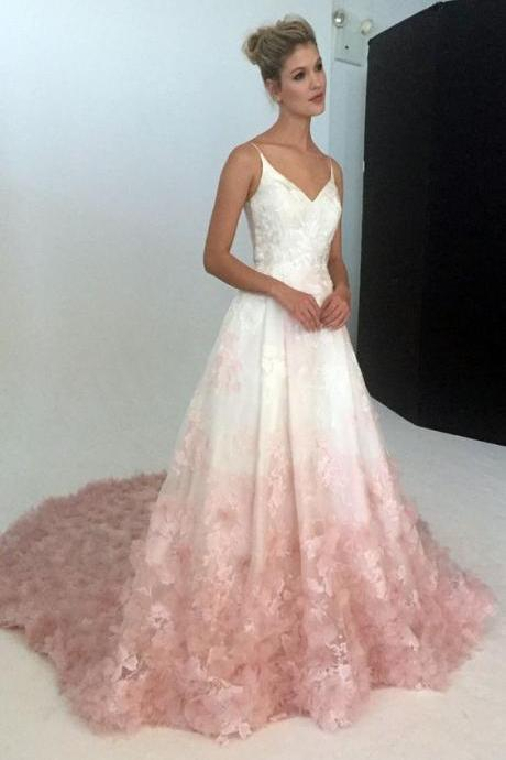 Custom Made V-Neckline Silk Organza Ball Gown Wedding Dress with Floral Embroidery and Silk Organza Petal Detail in Blush Ombre, Prom Dress