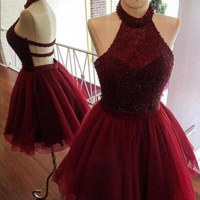Burgundy homecoming dress,a line homecoming dress,halter party dress,beading short prom dress,women homecoming dress
