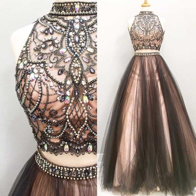 Two pieces A line prom dresses, Beaded prom dress, 2017 Tulle prom dress, dresses for prom, Long prom dres