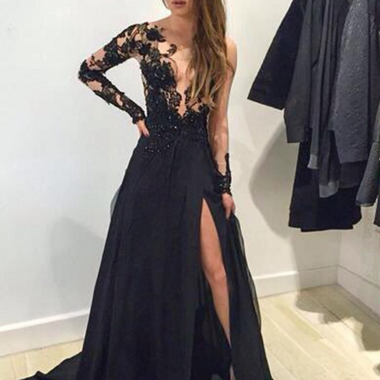 Buy Sexy Prom Dress -Mermaid V-Neck Long Sleeves with Appliques Prom Dresses