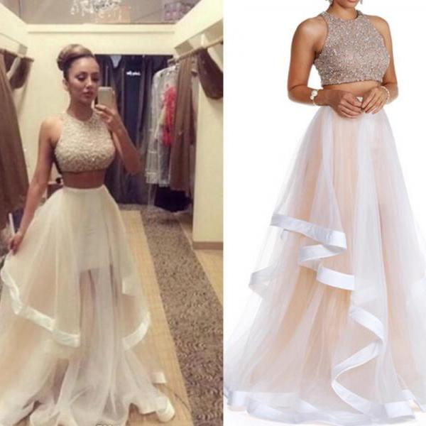 Champagne Prom Dress, Two Piece Prom Dresses, Long Prom Dress, Tulle ...