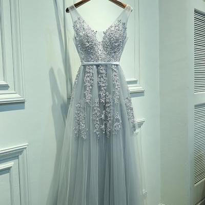 V Neckline Grey Lace Evening Prom dresses, prom dresses shop, online prom dresses Tulle Long Party Prom Dresses, Custom Cheap prom dresses