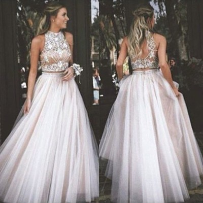 Sexy champagne Two Piece Prom Dress High Neck Evening Dress Tulle with Rhinestone Dresses High Quality party dresses